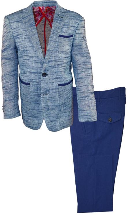 Boys 2 Button Single Breasted Kids Sizes Notch Lapel Dark Navy 2 Pc Linen Suit Perfect For boys wedding outfits And Pant