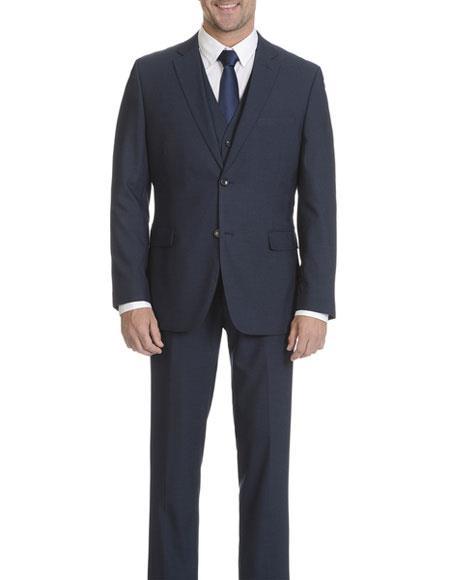 Caravelli Men's Modern Fit 3 Piece Vested Dark Blue Suit