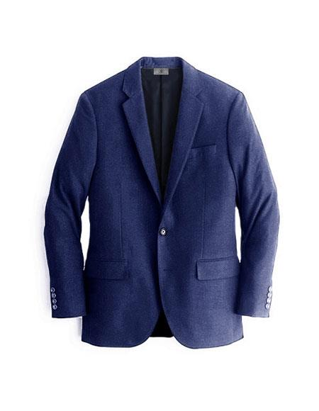 Men's Navy Blue Cashmere & Wool Blazer