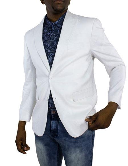 Men's White One Ticket Pocket Thread and Stitch Blazer