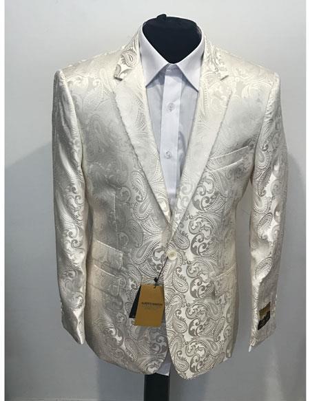 Alberto Nardoni Brand Mens 1 Button Cheap Priced Designer Fashion Dress Casual Blazer On Sale Notch Lapel Cream ~ ivory ~ Off White Blazer Dinner Jacket Tuxedo Looking! Sport coat (Wholesale Price $75 (12pc&UPMinimum))