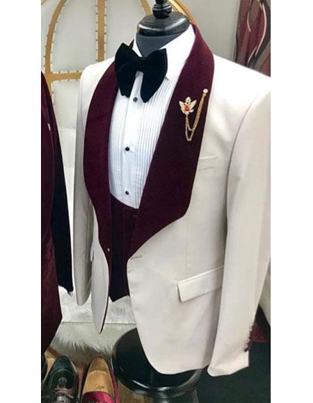 Alberto Nardoni White and Burgundy ~ Wine ~ Maroon Suit  Velvet Lapel Vested Tuxedo Suit Shawl collar