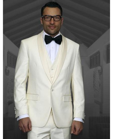 Men's Off White Shawl Lapel 1 Button Modern Fit Tuxedo
