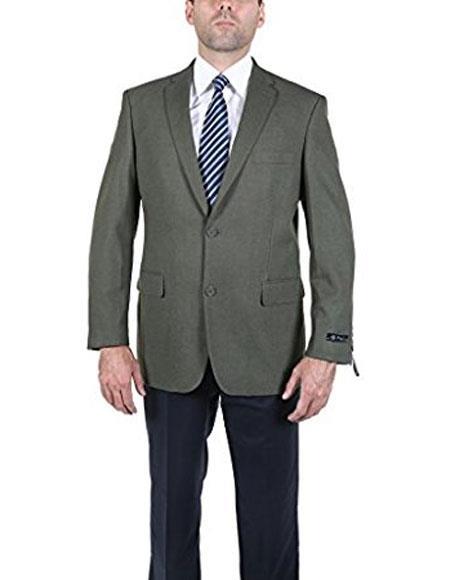 Men's Classic Olive 2 Button Blazer Suit Jacket