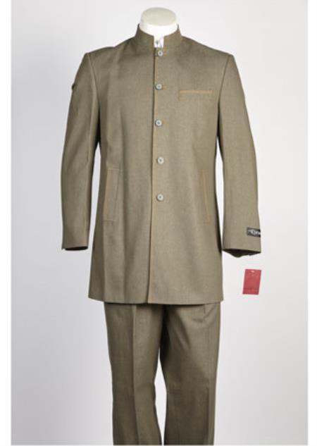 Mens Denim Jean 5 Button Suit Olive