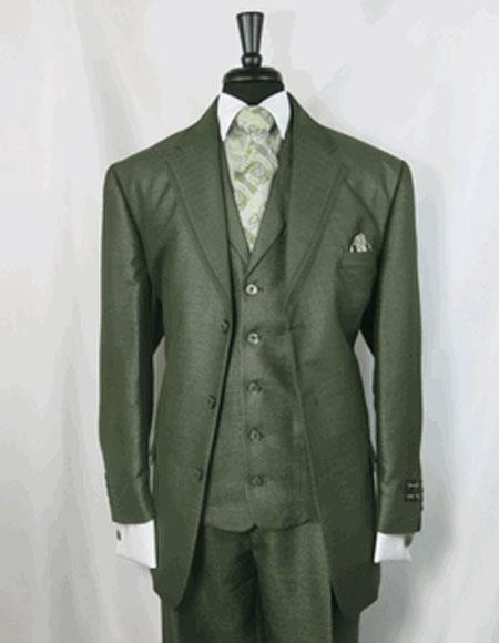 Mens Double Vents  3 Button  Olive Green Cheap Priced Business Suits Clearance Sale