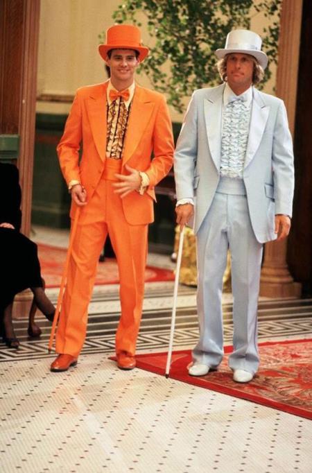 Men's Orange and Silver Wide Peak Lapel  Suit