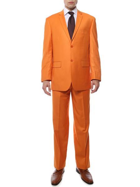 Mens 2 Button Notch Lapel Orange Regular Fit Suit