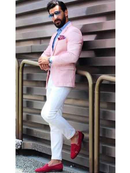 Men's  Slim Fit Cheap Priced Designer Fashion Dress Casual Blazer On Sale Pink Blazer Linen Summer Fabric