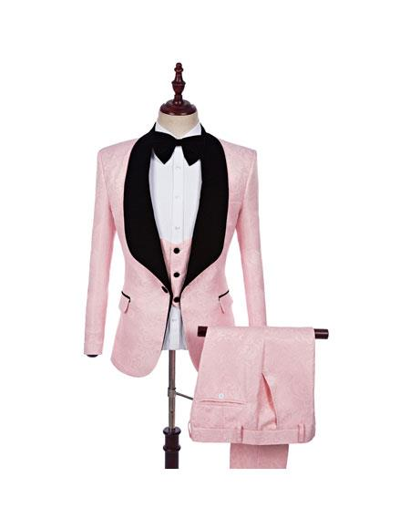 Men's Single Breasted 3 Pieces Pink Blazer Pant Formal Casual Wedding Suit GD592