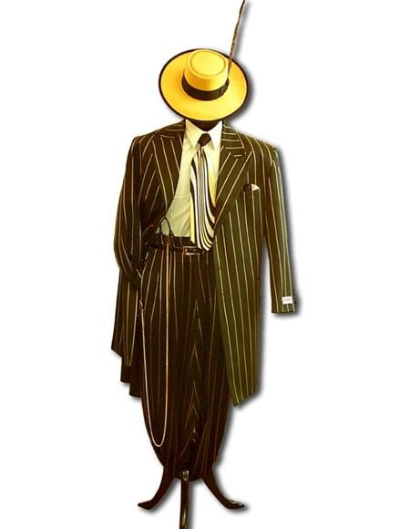 WTXZoot200 Mens High Fashion Single Breasted Bold Pronounce Yellow Pinstripe Three Piece Zoot Suit
