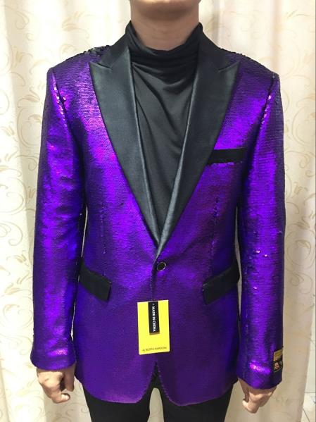 Alberto Nardoni Brand SEQUINS-1 Purple (Wholesale Price $95) Shiny Flashy paisley blazer mens