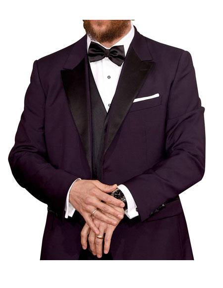 SKU#GD1594 Men's 1 Button Peak Lapel Purple Single Breasted Tuxedo