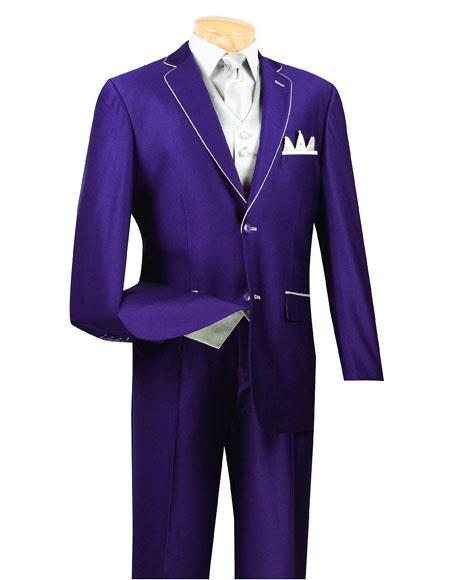 Men's  5 Piece Purple 2 Button Side Vents Suit