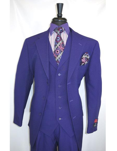 Mens Single Breasted Purple vested Three buttons Suits Pleated Pants