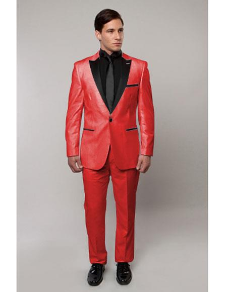 `Slim Tux red with black Lapel
