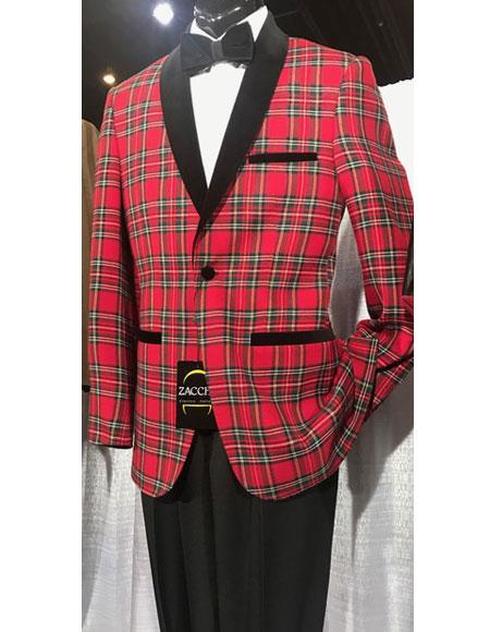 Mens Single Breasted Shawl Black Lapel Plaid red Cheap Blazer Jacket For Men Advanced Pre Order To Ship November / 15 / 2019