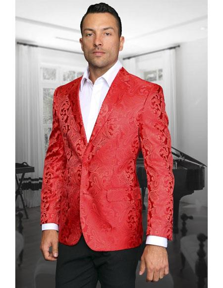 Sku Ch1613 Mens Red Paisley Blazer Entertainer Prom F