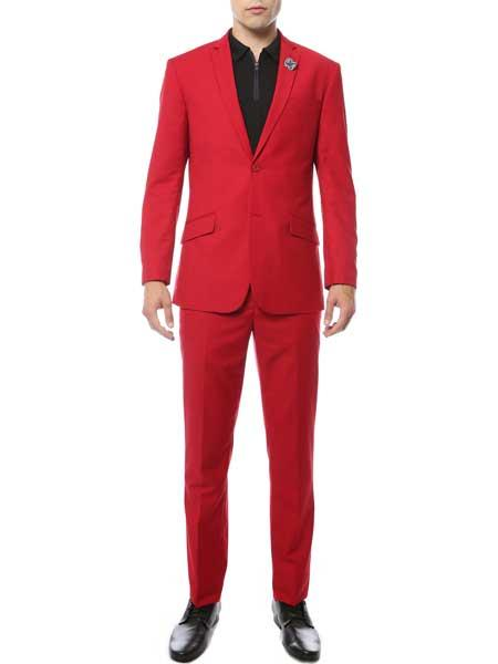 Mens Classic Notch Lapel Single Breasted Red Slim Fit 2 Piece Suit