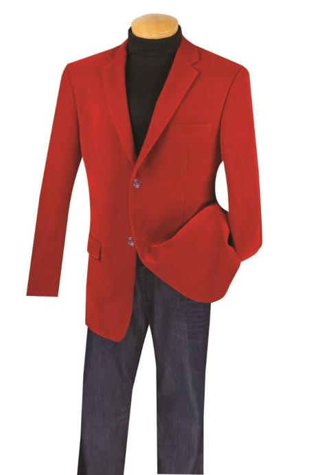 Big And Tall Blazers Clearance Cheap Priced Red Velvet ~ Velour Cheap Blazer Jacket For Men / Sport Coat