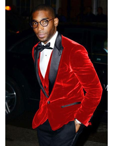 Alberto Nardoni Brand Men's Red Velvet Tuxedo Cheap Priced velour Blazer Jacket For Men ~ Sport coat - Red Tuxedo