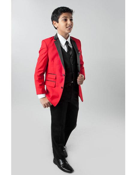 Boy's 3 Piece Red  Kids Sizes Slim Fit 4 Button Vest Suit Perfect for toddler Suit wedding  attire outfits