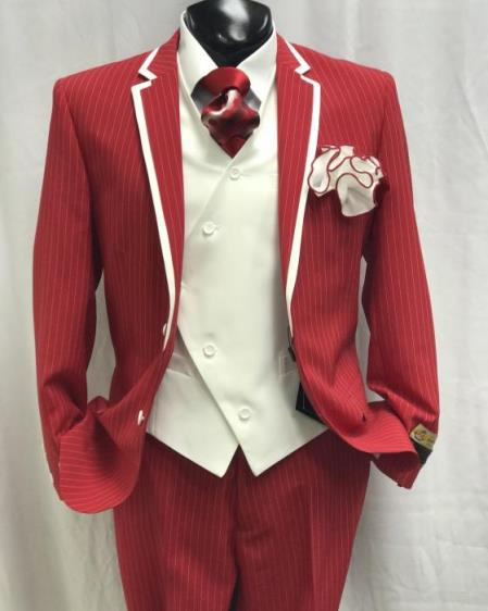 Sku Kh52 Mens Red And White Stripe Two Toned Vested Tuxedo
