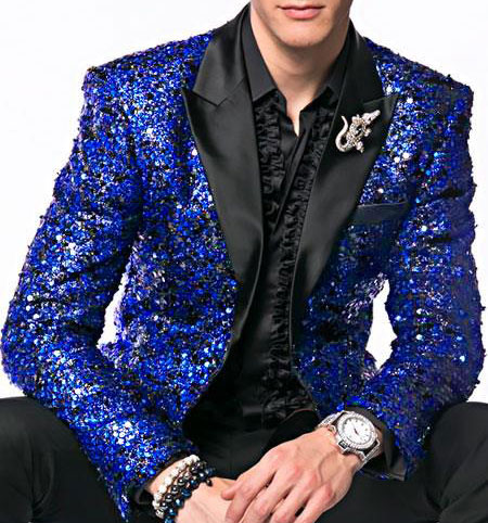 Glitter Sparkly Royal ~ Black Mens Sequin Paisley Alberto Nardoni Brand Dinner Jacket Tuxedo