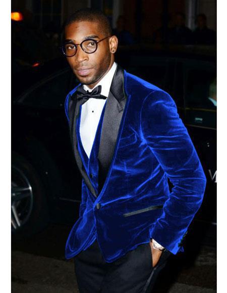 Mens Royal Blue Velvet Tuxedo Mens blazer Jacket ~ Sport coat