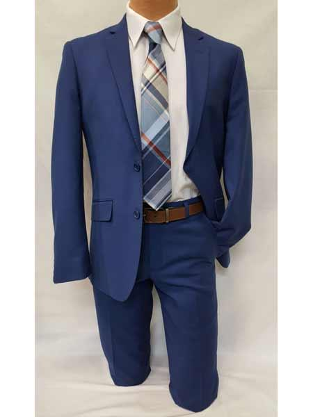 Mens Slim Fit Notch Lapel 2 Piece Casual Single Breasted Royal Blue Dress Suits for Men