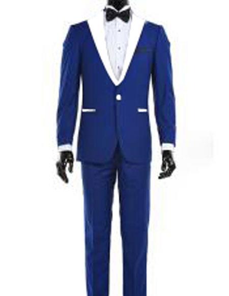 Men's 1 Button Royal Blue and White Lapel Tuxedo Dress Suits for Men