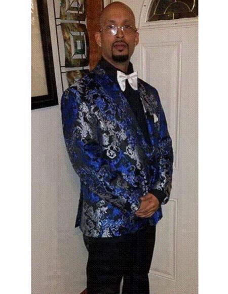 SKU#CH2326 Mens Tuxedo Light ~ Royal Blue ~ Gray ~ Black Paisley Fashion Floral Blazer
