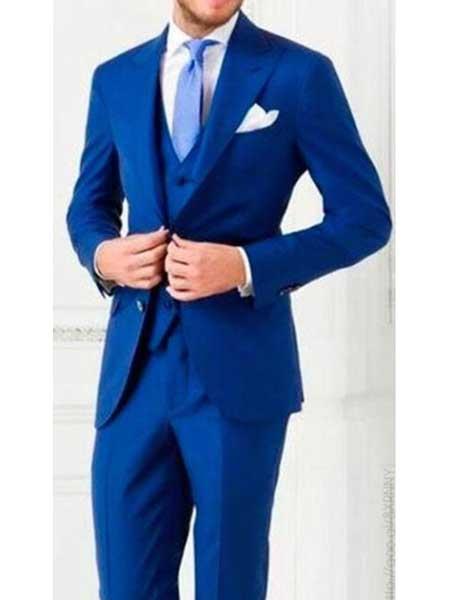 Mens 3 Piece Royal Blue Peak Lapel Vested Wedding Pleated Pants Regular Fit