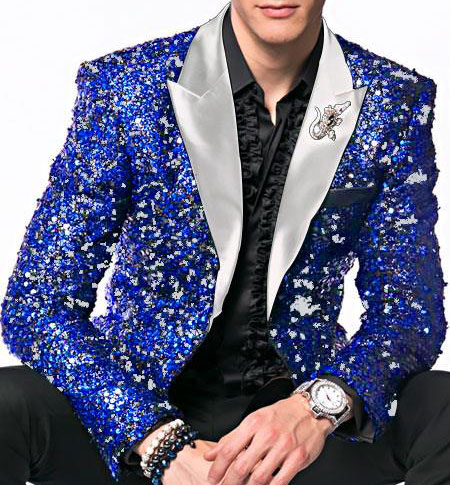 Alberto Nardoni Brand Fashion Mens Royal ~ White Sequin paisley Dinner Jacket Tuxedo Blazer glitter sparkly Sport coat