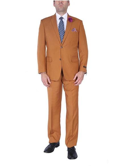 Men's Rust Classic Fit 2 Button Two-Piece Side Vents Cheap Priced Business Suits Clearance Sale