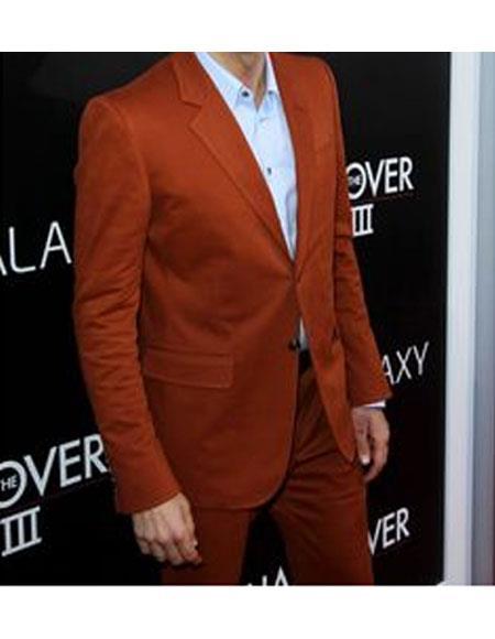 Men's Rust ~ Copper ~ Rust 2 Buttons Brick Color Suit Flat Front Pants