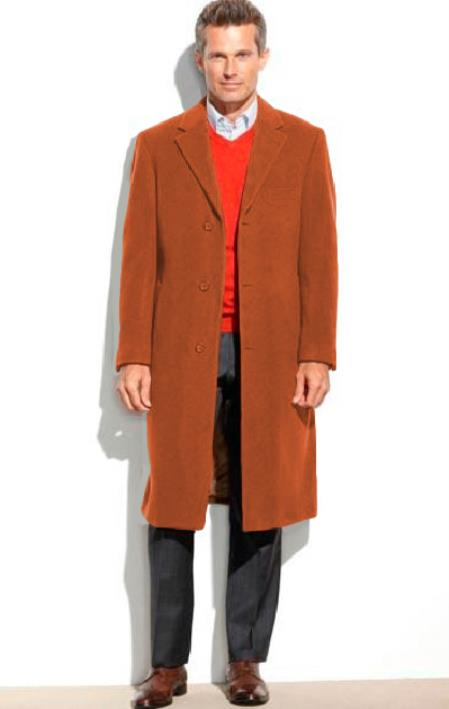 Mens Dress Coat 65% Wool full length Notch Lapel Overcoat ~ Topcoat Rust (Cashmere Touch (not cashmere))