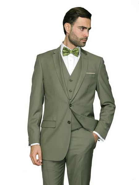 Mens 3 Piece Euro Tapered Cut Single Breasted Sage ~ Light Green Vested Italian Wool Light Olive Slim Fit Cheap Priced Business Suits Clearance Sale
