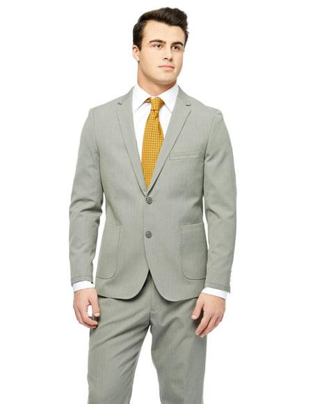 West End Mens Single Breasted Checked Pattern Young Look Sand Wool Feel Slim Fit Suit