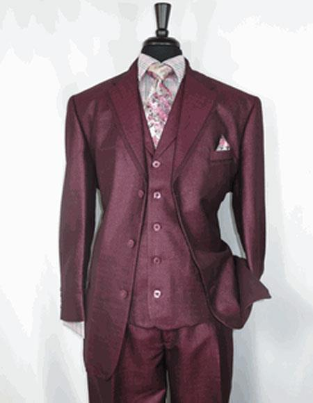 Men's Sharkskin Burgundy ~ Wine ~ Maroon Suit Cheap Priced Business Suits Clearance Sale