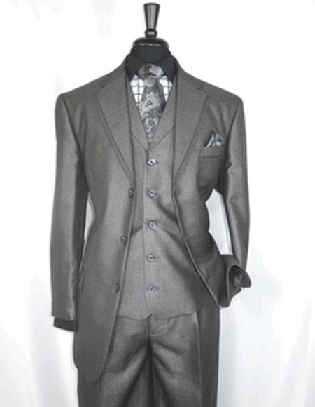 Men's   3 Button Sharkskin Grey Cheap Priced Business Suits Clearance Sale
