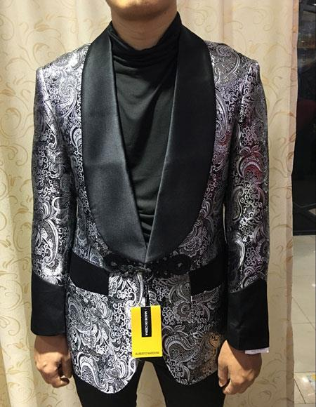 Mens SilverShiny Black Lapel(Wholesale Price $95 (12pc&UPMinimum))$175 Blazer Sport Coat Tuxedo