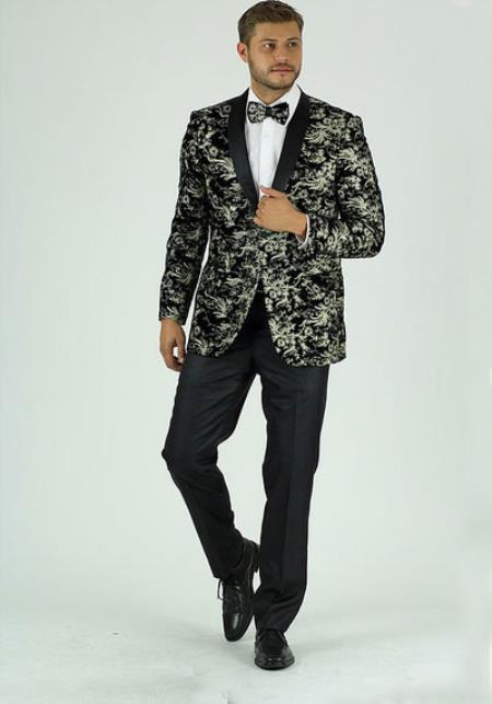 Men's silver 1 Button Shawl Lapel Side Vents Classic Fit Jacket
