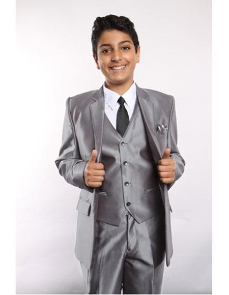 Boys Sharkskin 5 Piece Silver Kids Sizes Suit Perfect for toddler Suit wedding  attire outfits Vested w/Shirt, Tie & Hanky