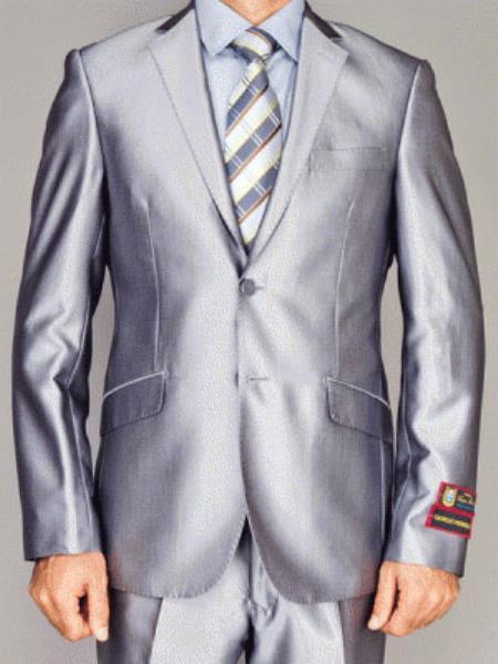 Mens Giorgio Fiorelli Fully Lined  Double Vent Silver 2 Button Suit