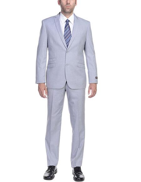 Men's Slim Fit Suit - Fitted Suit - Skinny Suit Men's Silver Grey Ticket Pocket 2 Button Cheap Priced Business Suits