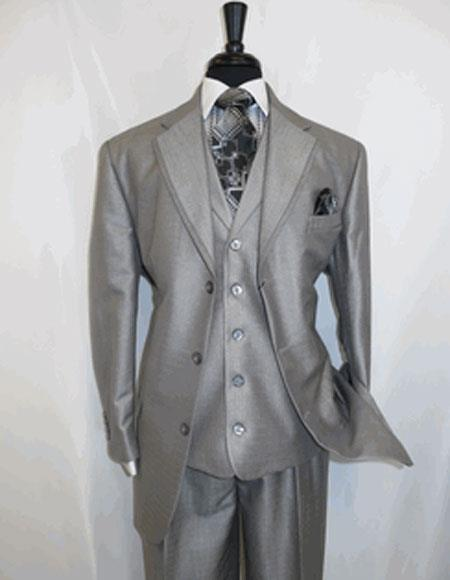 Men's 3 Button   Silver Grey Cheap Priced Business Suits Clearance Sale