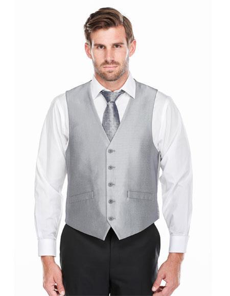 Mens  Silver Shark-skin Five Button Classic Fit Vest