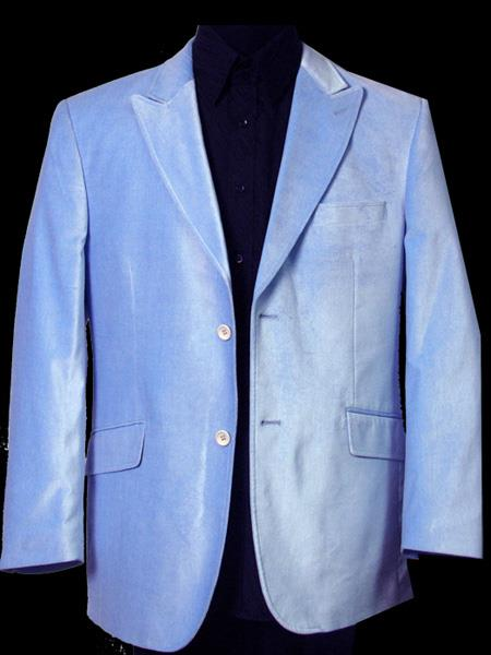 Men's Velvet ~ Velour Fabric Two Button Sky Blue Sport Coat Blazer Jacket