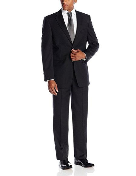 Giorgio Fiorelli Men's Portly Fit  Two-Piece Solid Black Fully Lined Suit Executive Fit Suit - Mens Portly Suit
